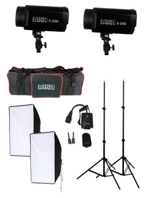 Kit iluminación E250 de estudio Vanta 500W