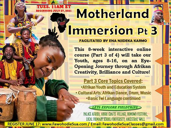 MOTHERLAND IMMERSION PT 3 JULY 2021 FLYE