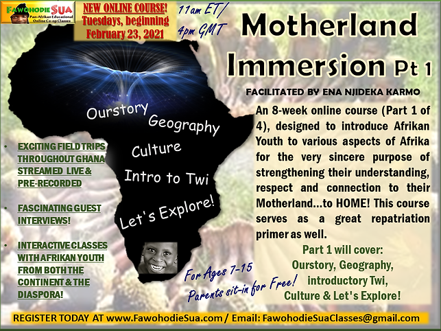 MOTHERLAND IMMERSION CLASS FLYER JANUARY