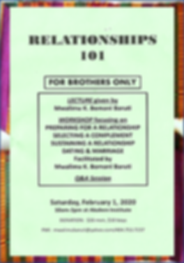 RELATIONSHIPS 101 FOR BROTHERS ONLY GREE
