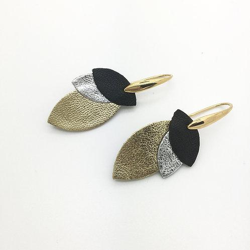 Boucles d'oreilles cuir, forme goutte