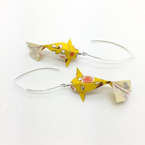 Boucles d'oreilles carpe koï en origami