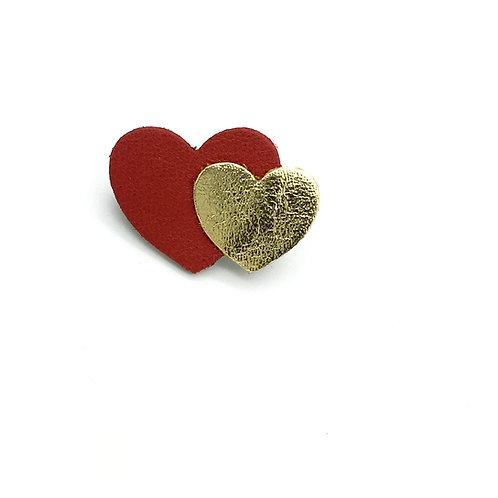Broche en cuir, forme coeur