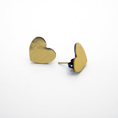 Boucles d'oreilles puces en cuir forme coeur