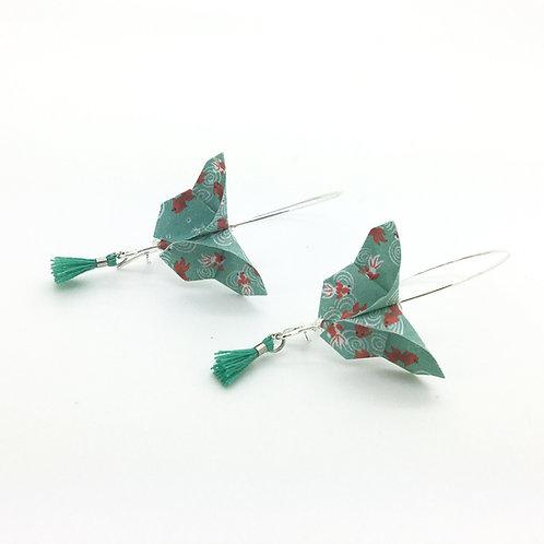 Boucles d'oreilles papillon en origami