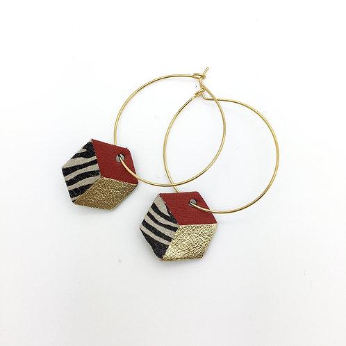 Boucles d'oreilles cuir créole, forme hexagone