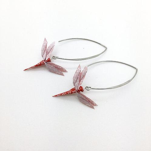 Boucles d'oreilles libellule en origami