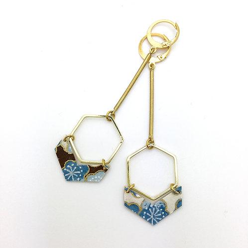Boucles d'oreilles hexagone