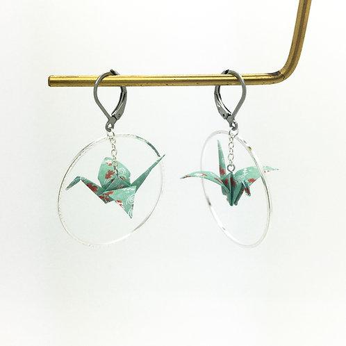 Boucles d'oreilles grue cercle en origami