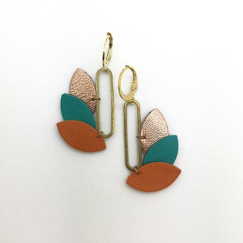 Boucles d'oreilles en cuir, forme plume