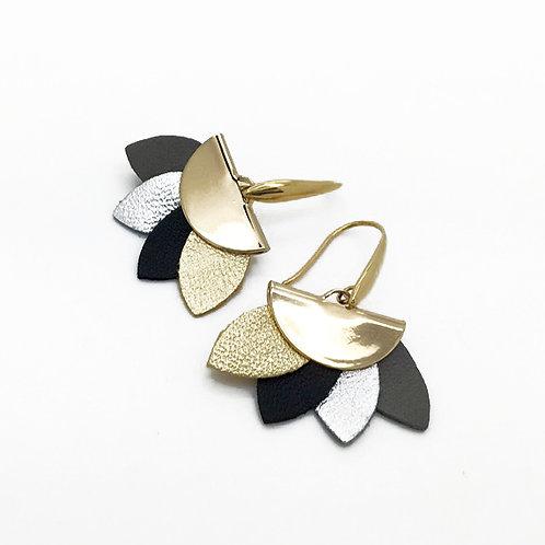 Boucles d'oreilles cuir forme éventail