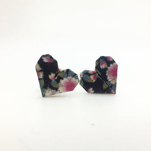 Boucles d'oreilles coeur en origami