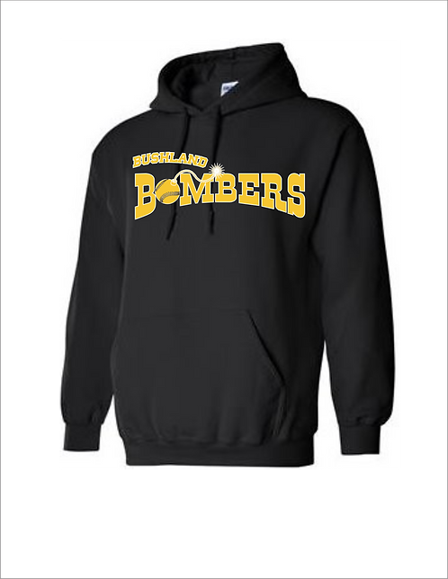Personalized Bushland Bombers Black Hoodie with Player Name & Number
