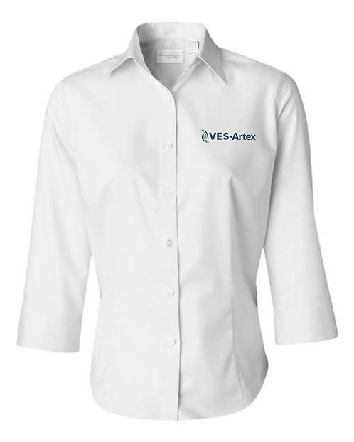 Ladies Van Heusen 3/4 Sleeve Baby Twill Shirt 13V0527