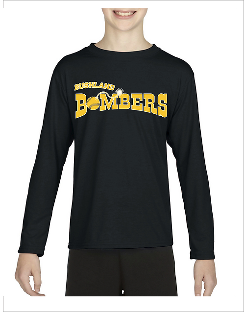Personalized Bushland Bombers Gildan Long Sleeve with Player Name & Numb