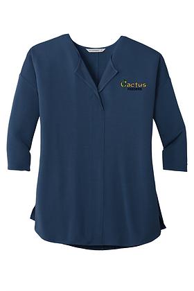 Ladies Concept 3/4 Sleeve Soft Split Neck Top