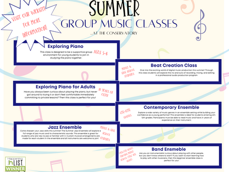 SUMMER GROUP CLASSES:  Music fun for everyone!