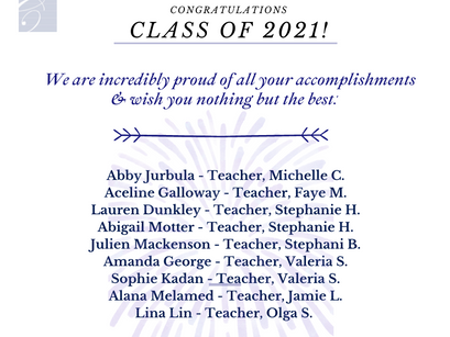 Congratulations to our graduating seniors and to those who are accomplishing their dreams!