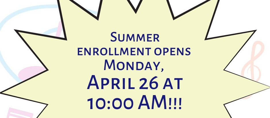 Summer 2021 Private Lesson Information & Calendar