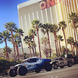 Parading with all the racers down Las Vegas Blvd for the Mint 400 #baldiracing #class1 #bestinthedes