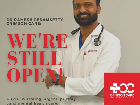 COVID rapid tests, sprained ankles, earaches: Dr. Peramsetty's Crimson Care still open for you