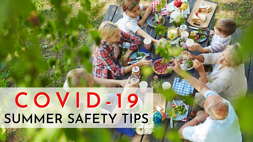family having an outdoor gathering to stay safe by following Dr. Peramsetty's COVID-19 summer safety tips.