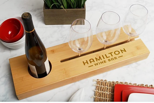Personalized Wine Serving Tray + Glasses