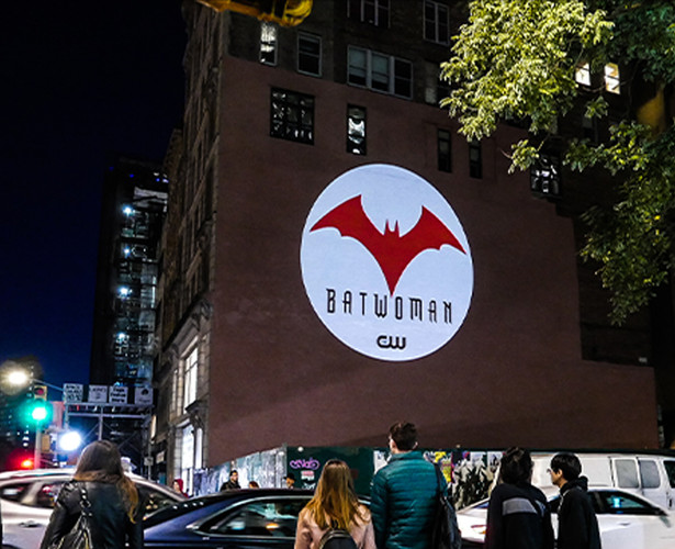 OOH Marketing for Batwoman Laser Projection