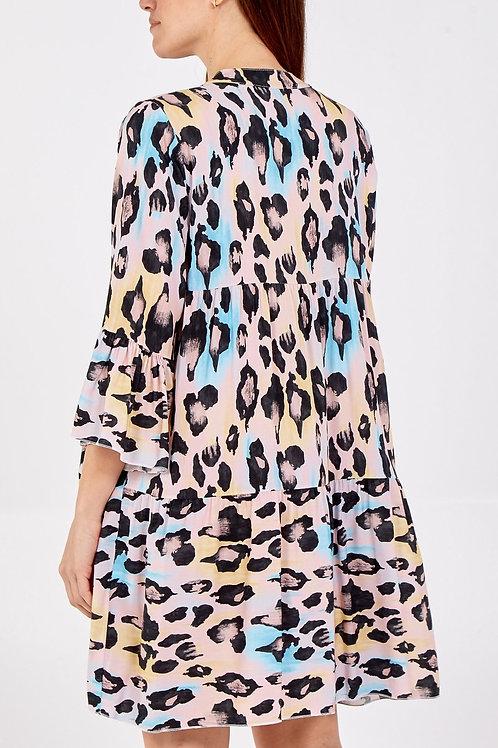 Smock blush pink leopard  dress