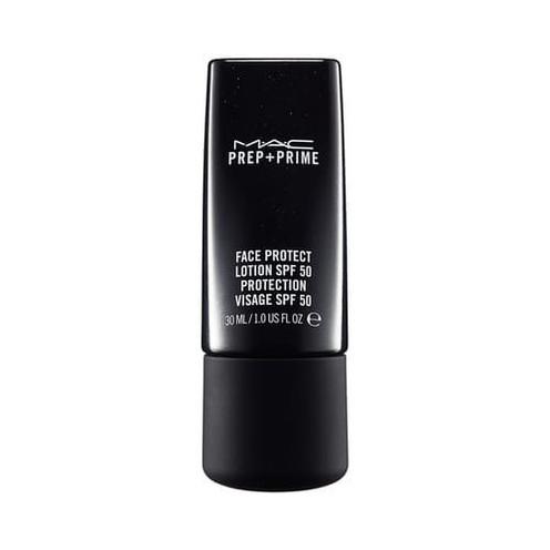 MAC PREP + PRIME FACE PROTECT LOTION. Loción fluída con protección solar para todo tipo de piel, perfecciona y prepara.