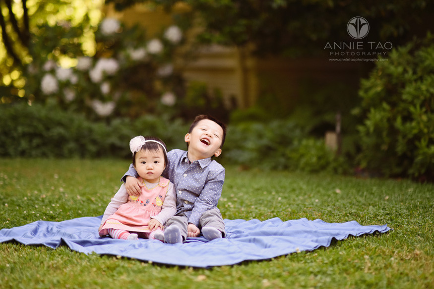 Bay-Area-lifestyle-children-photography-preschool-boy-laughing-while-hugging-baby-sister