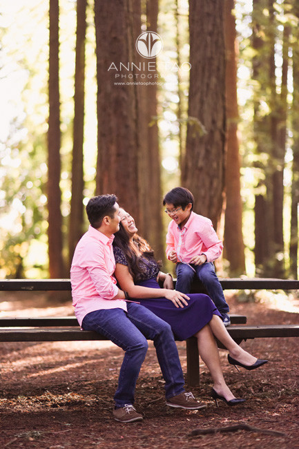 East-Bay-lifestyle-family-photography-family-laughing-at-picnic-table-in-forest