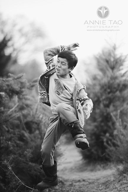 bay-area-lifestyle-children-photography-boy-being-silly-in-tree-farm-bxw