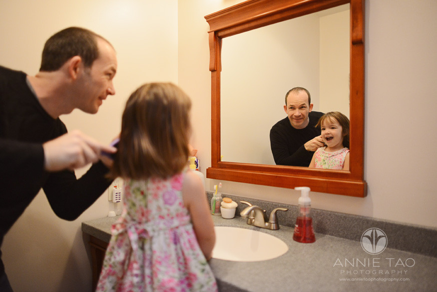 North-Bay-Marin-lifestyle-family-photography-father-brushing-daughters-hair-in-bathroom