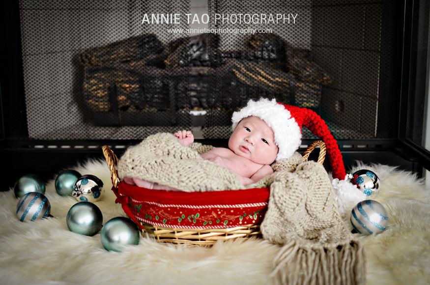 San-Francisco-Bay-Area-Newborn-Photography-Christmas-baby-in-Santa-hat-in-basket