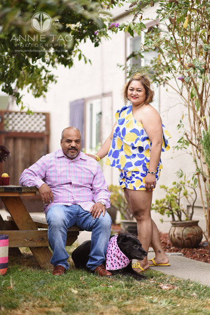 East-Bay-styled-photography-man-and-woman-portrait-with-their-dog-at-picnic-table