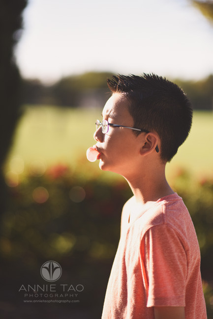 East-Bay-styled-children-photography-boy-profile-blowing-bubblegum