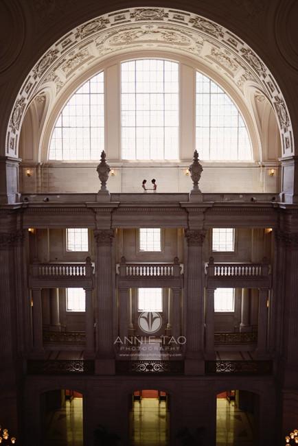 San-Francisco-wedding-photography-City-Hall-gay-wedding-brides-facing-each-other-on-the-top-floor