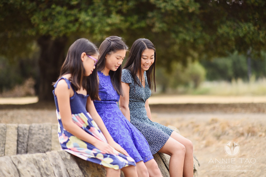 Bay-Area-lifestyle-teen-photography-three-sisters-sitting-together-on-stone-wall