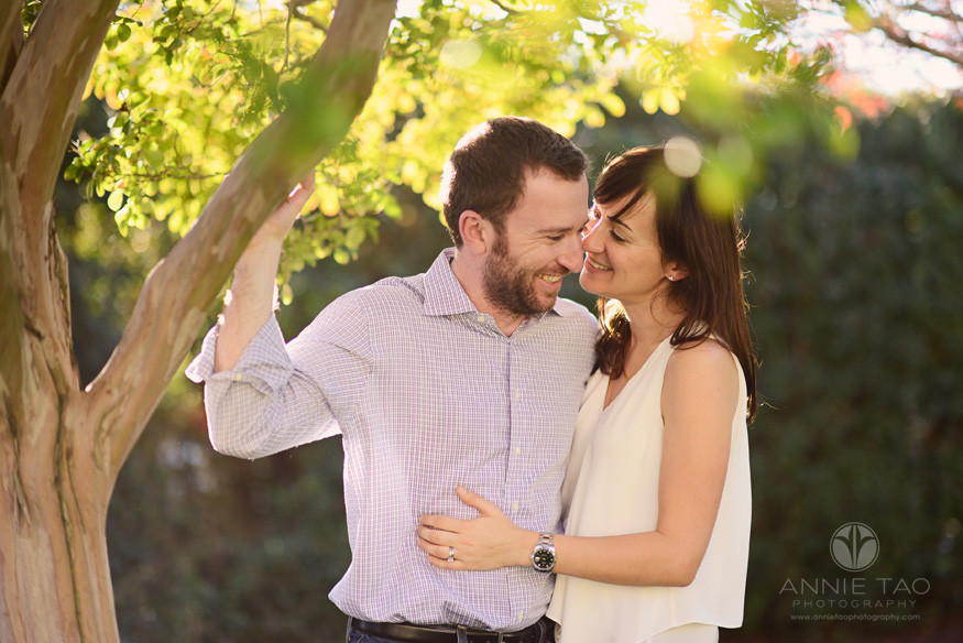 Bay-Area-styled-couple-photography-man-and-woman-laughing-and-embracing-by-tree