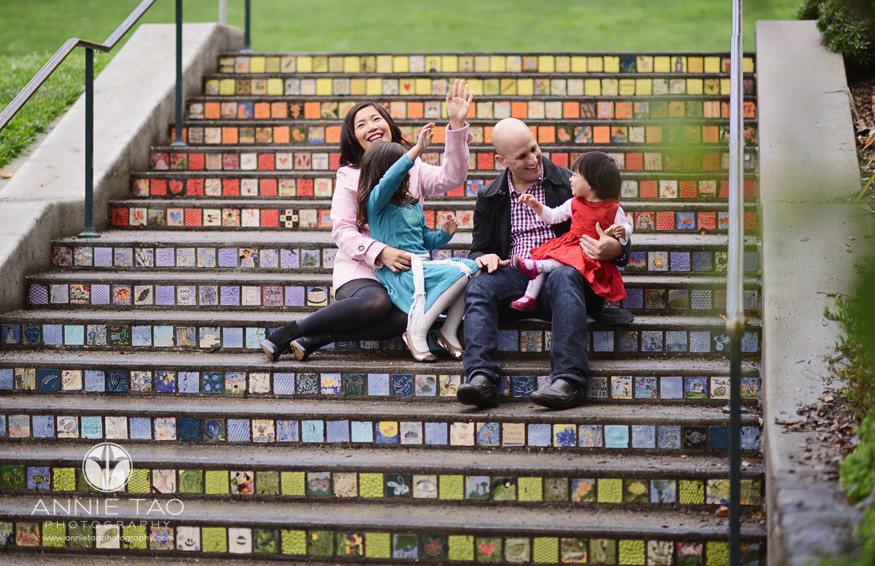 San-Francisco-lifestyle-family-photography-family-having-fun-on-mosaic-tiled-stairs