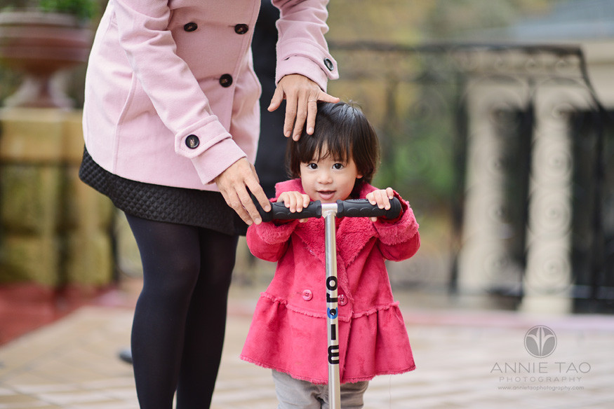 San-Francisco-lifestyle-family-photography-toddler-trying-out-scooter-with-moms-help