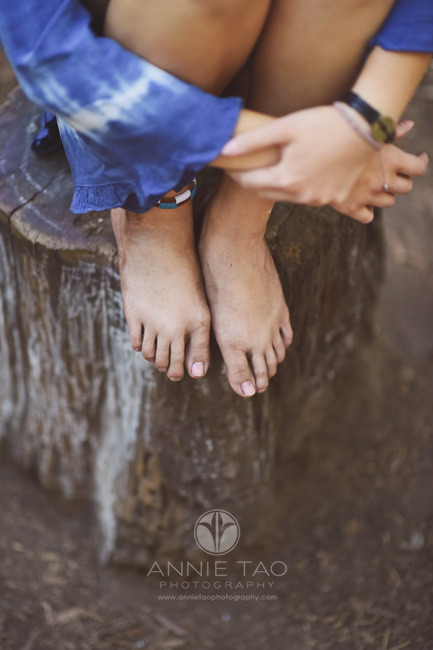 East-Bay-styled-photography-woodland-girl-sitting-on-stump-dirty-feet