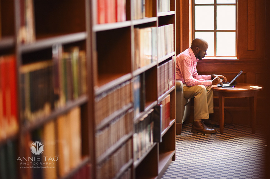 Commercial-Photography-Rice-Business-School-student-working-on-laptop-at-library