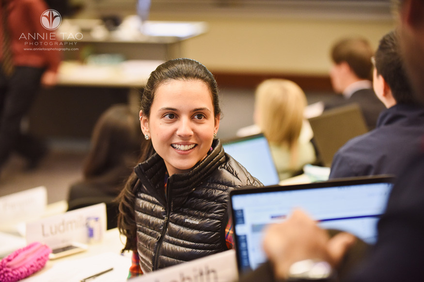 Houston-commercial-photography-business-school-student-looking-behind-her-in-class-closeup