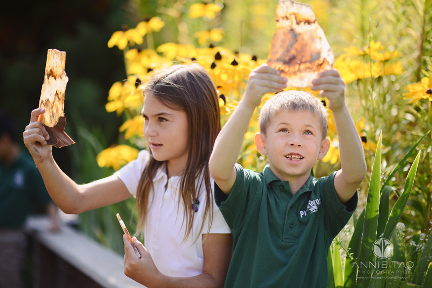 San-Francisco-Bay-Area-school-photography-girl-and-boy-student-studying-rocks-in-garden