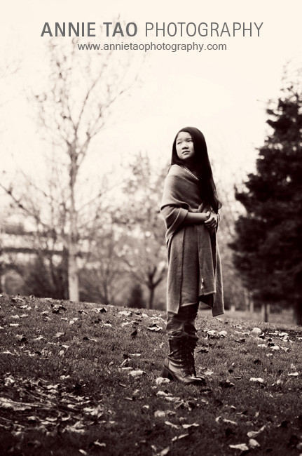 Preteen-model-styled-photography-standing-in-park-BxW
