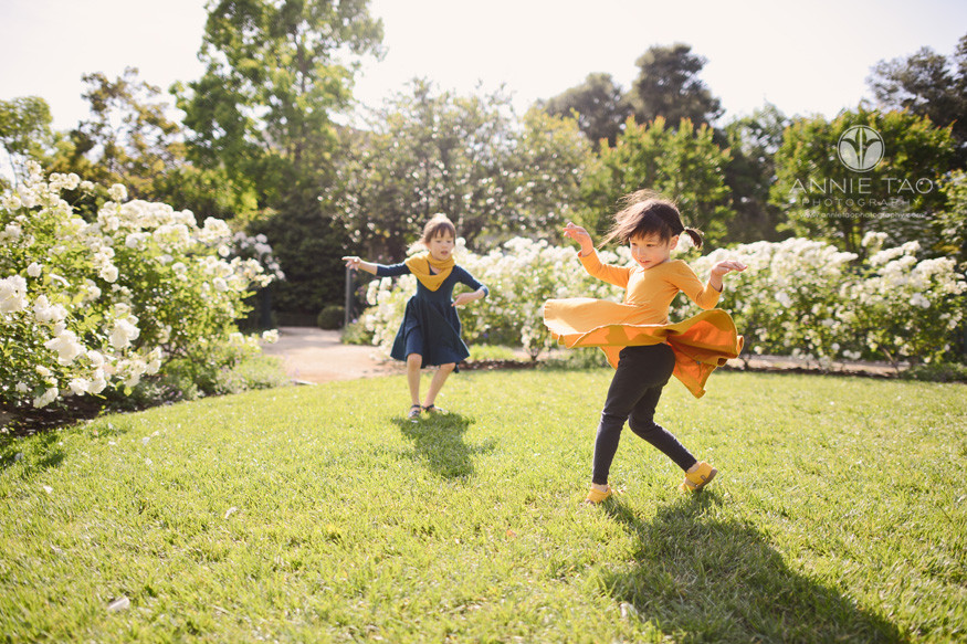 Bay-Area-lifestyle-children-photography-sisters-dancing-in-garden