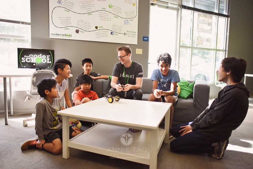 South-Bay-commercial-photography-coding-teacher-demonstrating-robot-to-group-of-students