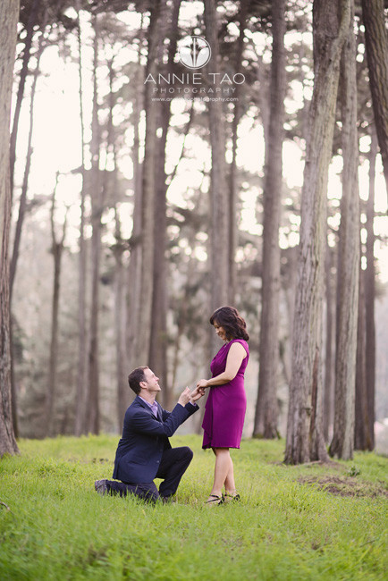 San-Francisco-lifestyle-couple-photography-engagement-in-woods-man-down-on-one-knee